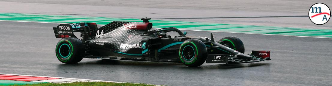 Hamilton dió una cátedra de cómo conducir con neumáticos intermedios